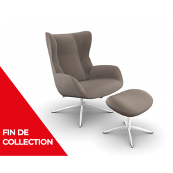 Fauteuil relax design cuir avec repose-pieds STOCKHOLM