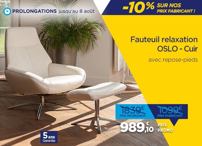 Fauteuils relax design en soldes avec le nouveau modèle OSLO en cuir