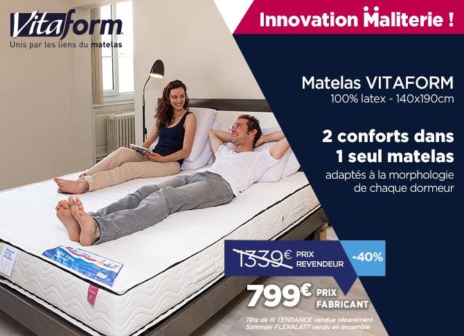Achetez malin en direct de notre usine votre matelas avec confort sur mesure Vitaform : une innovation Maliterie.com