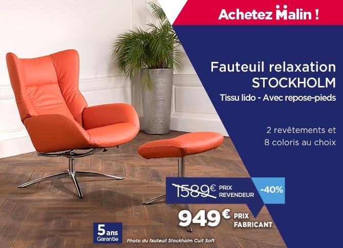 Fauteuil relax design avec repose-pieds en vente directe usine : de vraies économies !